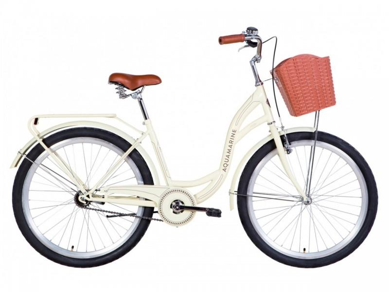"""Велосипед Dorozhnik AQUAMARINE ST 26"""" (рама 17"""", бежевий, з багажником, з корзиною, 2021)"""