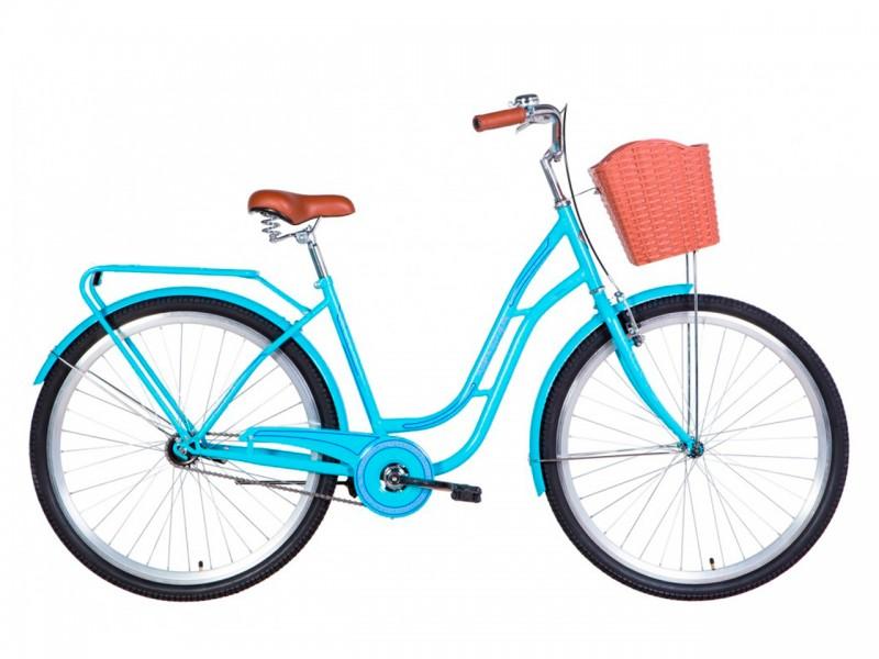 """Велосипед Dorozhnik OBSIDIAN ST 28"""" (рама 19.5"""", блакитний, з багажником, з корзиною, 2021)"""