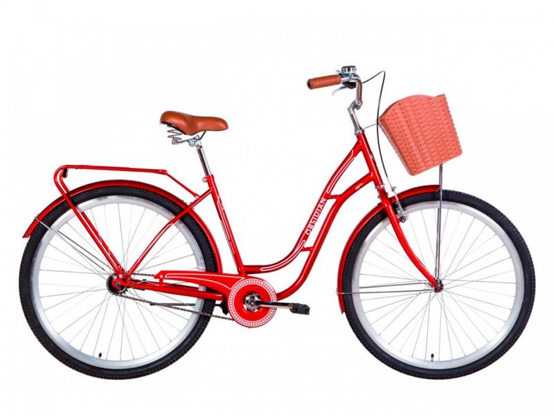 """Велосипед Dorozhnik OBSIDIAN ST 28"""" (рама 19.5"""", рубіновий, з багажником, з корзиною, 2021)"""