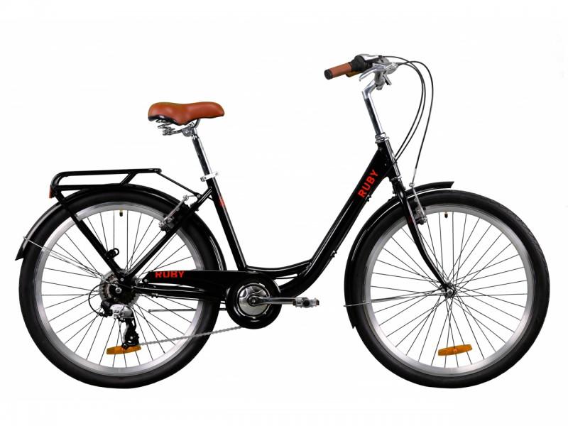 """Велосипед Dorozhnik RUBY AL 26"""" (рама 17"""", чорний, з багажником, 2020)"""
