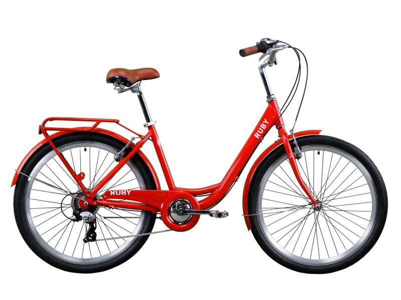 """Велосипед Dorozhnik RUBY AL 26"""" (рама 17"""", червоний, з багажником, 2020)"""