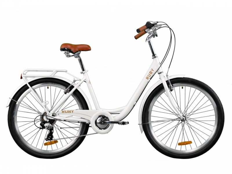 """Велосипед Dorozhnik RUBY AL 26"""" (рама 17"""", білий, з багажником, 2020)"""