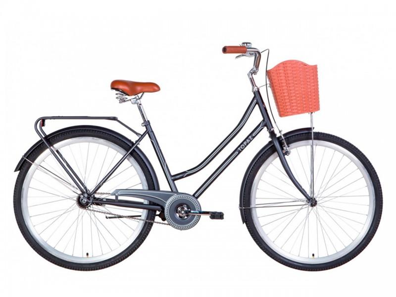 """Велосипед Dorozhnik TOPAZ ST 28"""" (рама 19.5"""", чорний, з багажником, з корзиною, 2021)"""
