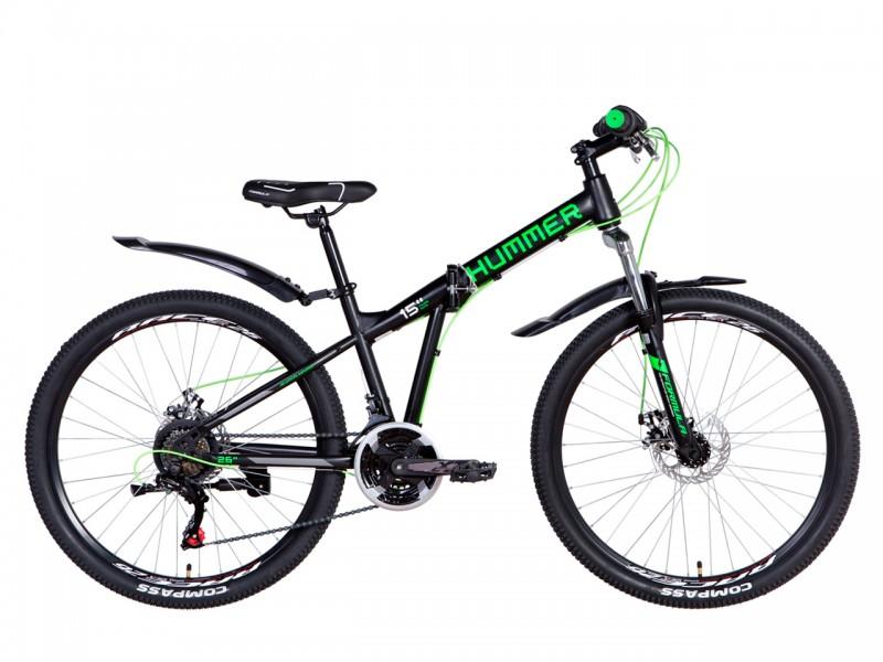 "Велосипед Formula HUMMER AM DD ST 26"" (рама 15, чорний/зелений, 2021)"