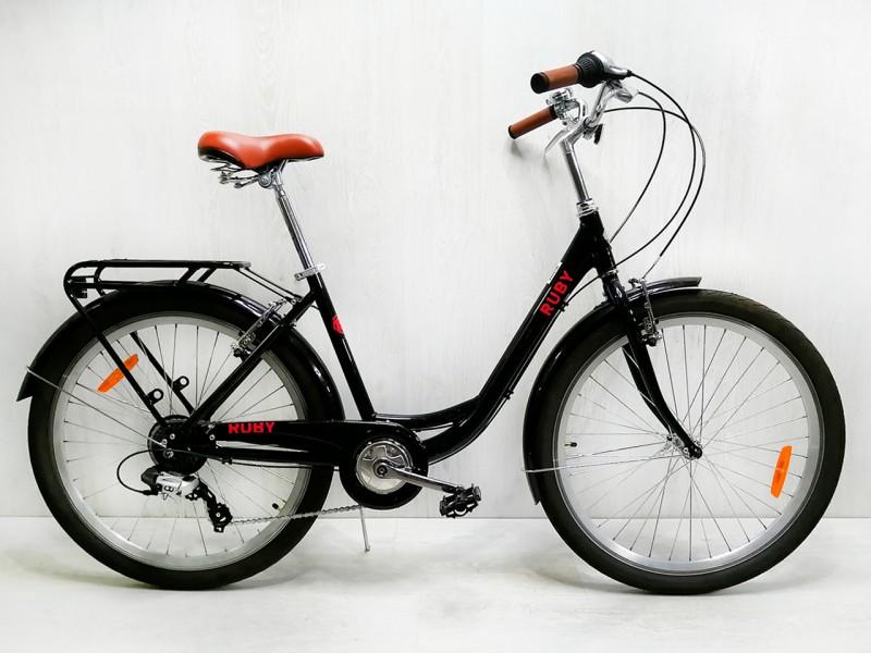 """Велосипед Dorozhnik RUBY AL 26"""" (рама 17"""", чорний, з багажником, 2020, б/в)"""