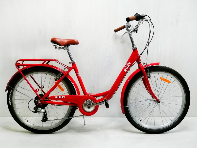 """Велосипед Dorozhnik RUBY AL 26"""" (рама 17"""", червоний, з багажником, 2020, б/в)"""