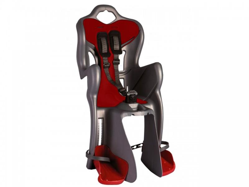 """Велокрісло дитяче заднє Bellelli B1 Standart (26""""-28"""", сірий/червоний)"""