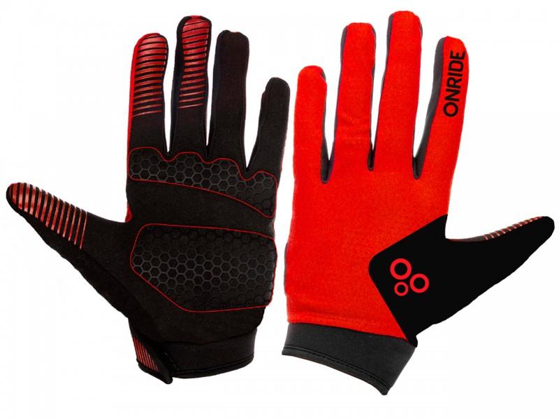 Велоперчатки Onride Long 20 (червоний/чорний, L)